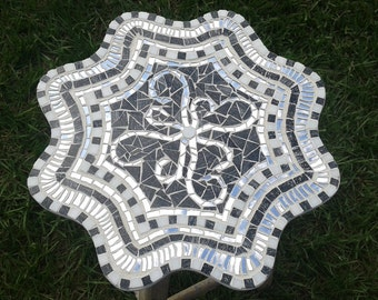 Mosaic Lazy Susan in Black White and Silver 15 Inch OOAK