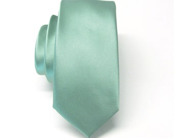 Mens Tie. Dusty Green Mens Skinny Tie. Wedding Ties With Matching Pocket Square Option