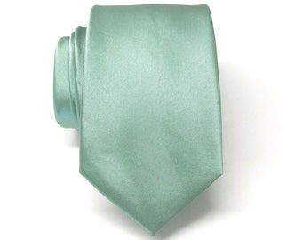 Mens Tie. Dusty Green Narrow Tie.  Wedding Neckties With Matching Pocket Square Option