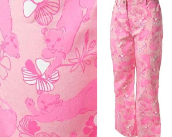 Vintage 90s Lilly Pulitzer Pants Pink Lioness Cropped Capri M