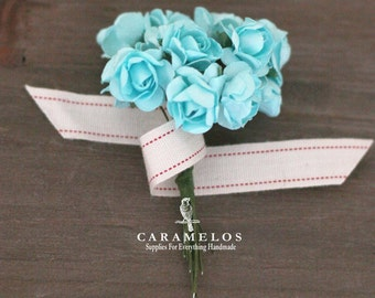 36 Miniature Aqua Paper Roses Flowers