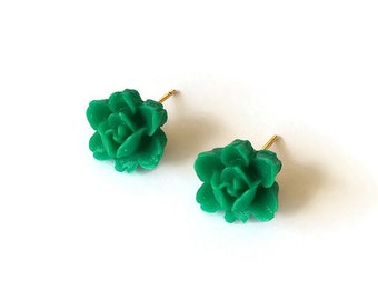Green Rose Ear Posts - Vintage Inspired Jewelry - Rose cabochons - Green Earrings - Rosebuds Ear Posts in Green (SD0305)