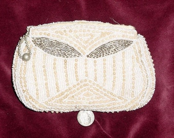 Vintage 40s White Beaded Clutch Dance Purse As Is