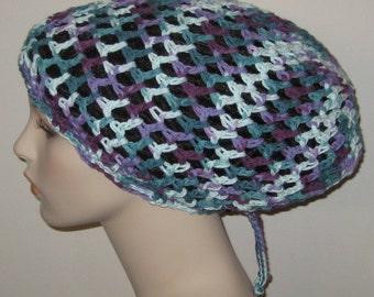 Cotton Open Stitch Slouchy Beanie Dread Crochet Hat in Variegated