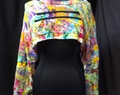 Shrug Half Top Long Sleeved Cotton Recycled Reuse Repurposed T Shirts One Of A Kind Art to Wear Hand Painted with Black Accent Appliques