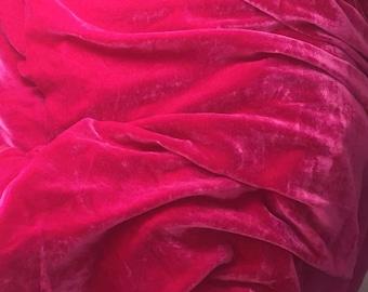 HOT Fuchsia PINK Silk Velvet Fabric fat 1/4
