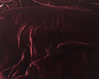 BURGUNDY RED Silk Velvet Fabric fat 1/4