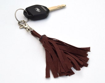 Italian Linen Fabric Tassel Key Chain Handmade by Me Not Leather