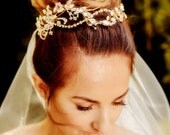 SALE - Bridal floral crown CLARICE , gold, hair vine, crystal, flowers, made to order