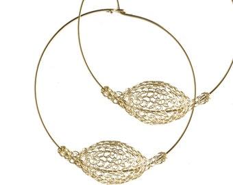 Gold extra large hoop earrings - handmade wire bead - crocheted bubble wire work jewelry - giant hoops unique hoop earrings