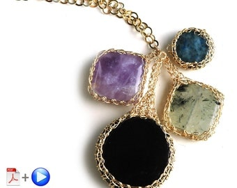 ONLINE Video tutorial and PDF YoolaPotion Charm necklace wire crochet cabochon wire jewelry tutorial yoola bezel pattern