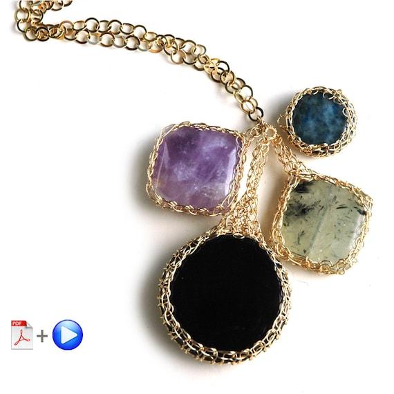 ONLINE Video tutorial and PDF YoolaPotion Charm necklace wire crochet cabochon wire jewelry tutorial yoola bezel pattern
