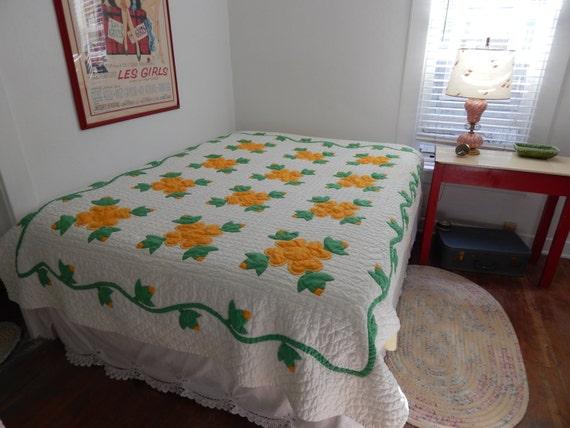 Vintage Floral Applique Quilt