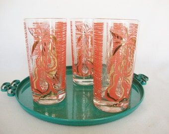 5 Gay Fad 1950s drinking glasses tumblers fruit flamingo coral and gold