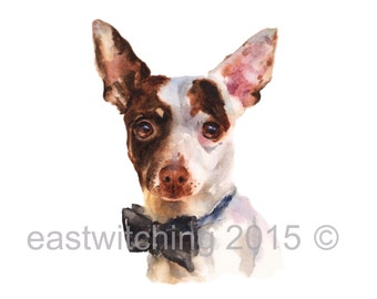 DOG painting, cute puppy print, ready to frame, chihuahua painting, watercolor, dog painting