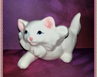 SALE - Playful White Persian Kitten Cat Figurine - Vintage Ceramics Porcelain