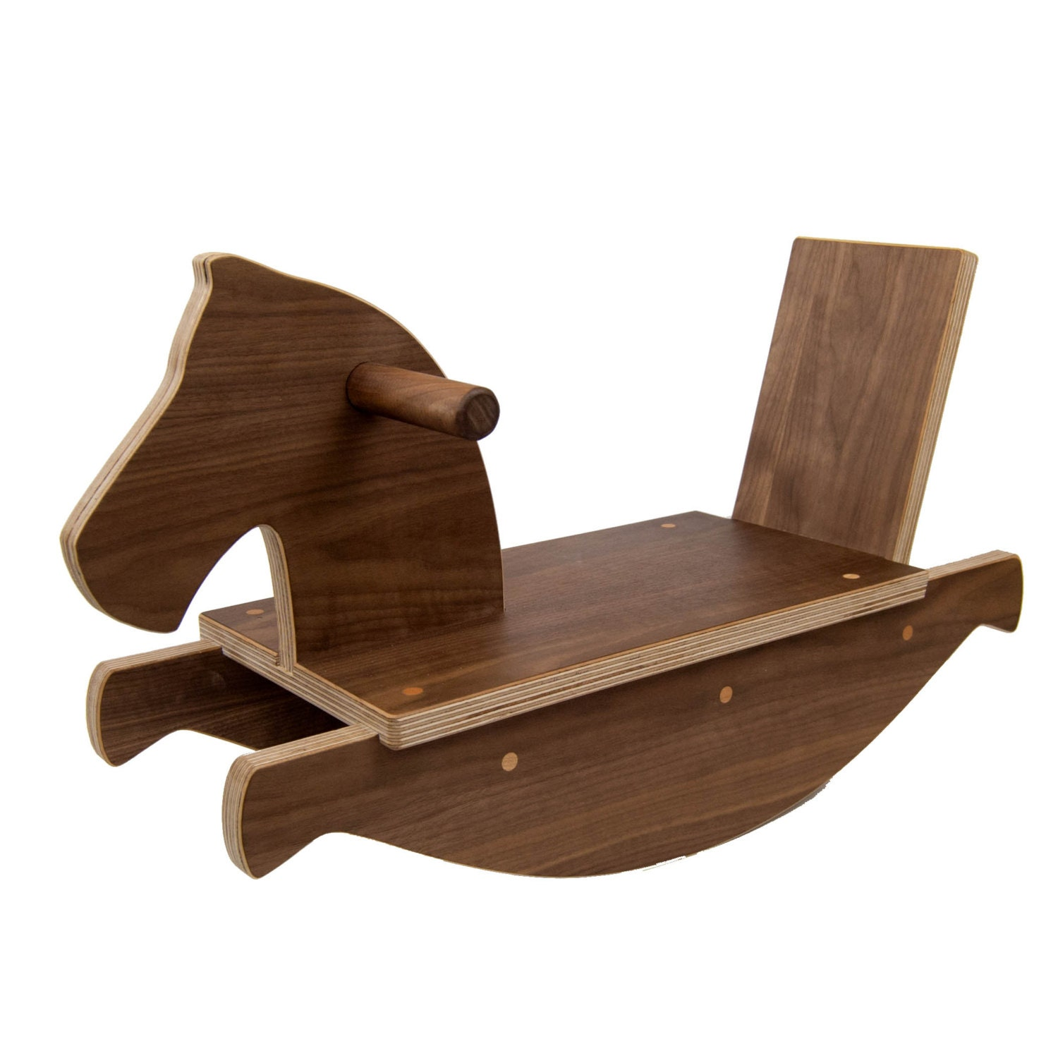 Rocking Horse In Walnut Handmade Wooden Toy Ride On Toy