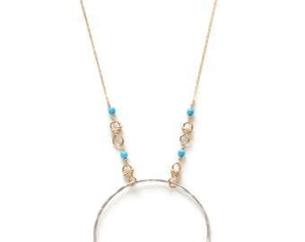 Fine Silver Turquoise Hoop Necklace