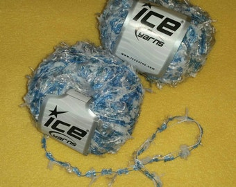 Sky Blue and White Multi-strand Yarn by Ice Yarns - 2 skeins