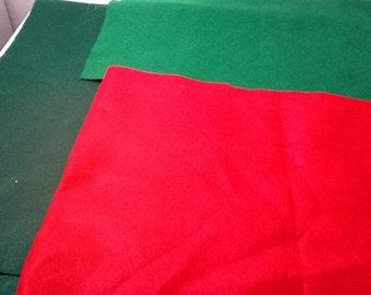 Felt - Green, lighter green and red felt pieces