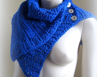 Handmade crochet blue scarf cape shrug New F/W Accessories collection 2015
