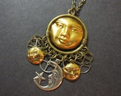 Moon and Sun Necklace, Star, Crescent Moon, Gear Necklace, Unique Steampunk, Man in the Moon, Full Moon, Brass Gears, Sun, Celestial