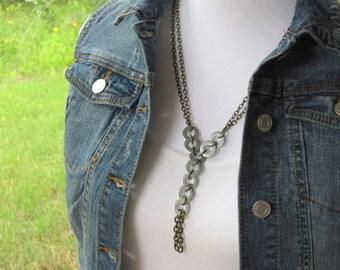Industrial Washer Necklace, Steampunk Hardware, Steampunk Necklace, Geometric, Upcycled Washer, Chain Necklace, Tassel, Rocker Jewelry, Bold