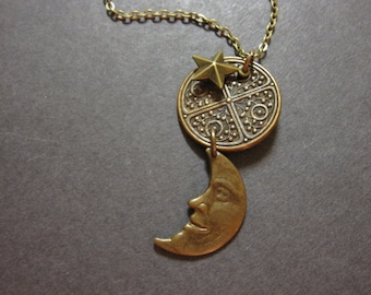 Crescent Moon Necklace, Charm Necklace, Star Necklace, Noir, Celestial Necklace, Man In The Moon, Half Moon, Antique Brass, Moon and Stars