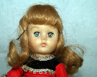 Vintage Ginny Vogue Doll in Red and Black Velvet Outfit trimmed in Silver