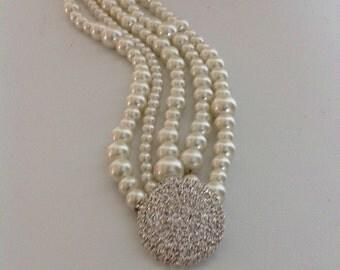 Pearl Wedding Bracelet , Bridesmaids Gifts,Pearl Wedding Bracelet,Pearl Bracelet,Ivory Pearls,Statement Bridal , Bridesmaids gifts