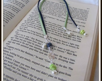 Beaded Book Marker, Books and Zines, Magazine, Navy Blue and Lime Green Suede Cord, 13 inch tip to tip.  Book Accessories, Page marker,#1082