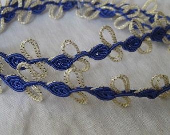 1 yd VINTAGE Blue Flower Gold Metallic Sewing APPLIQUE Trim