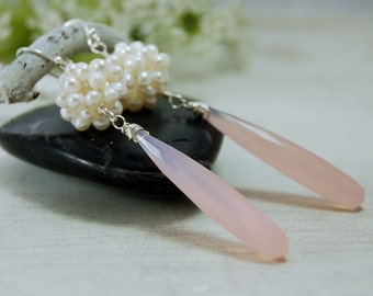 Rose Quartz Freshwater Pearl bundle Earrings Sterling Silver
