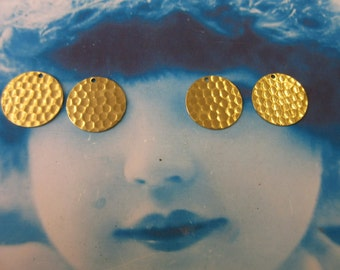 Raw Brass Hammered Earring Supplies Circles 2103RAW x2
