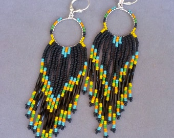 Native American Beadwork Hoop Earrings, Beaded Earrings, Fringe Earrings, Long Beaded Earrings, Beaded Hoops, Long Black Earrings, SUNDOWN