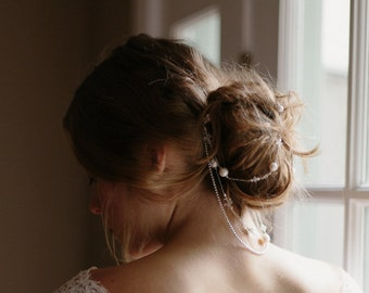 Wedding hair chain, drapping bridal hair jewelry - Cassia no.2104