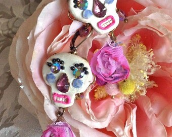 Lilygrace Calavera Floral White Skull Earrings with Vintage Rhinestone Eyes
