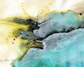 Ink abstract painting on canvas A4 - turquoise and olive clouds