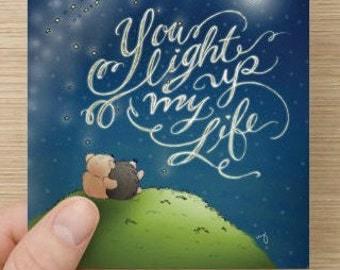 PDF Postcard/Notecard Set - You Light Up My Life, Hedgehog and Bear