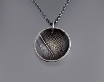 Feather Fragment Necklace -  Sterling Silver Pendant - Nature Jewelry