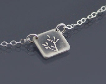 Tiny Etched Oxidized Silver Branch Necklace, dainty necklace, botanical jewelry, twig pendant