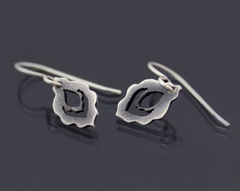 Tiny Sterling Silver Earrings - Scalloped Drops