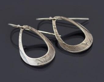 Sterling Silver Teardrop Loop Feather Earrings