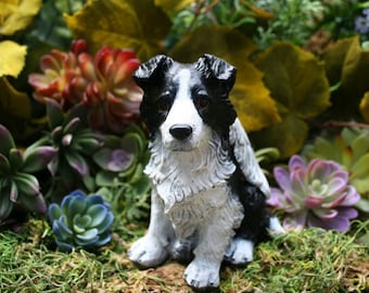 Border Collie Angel Dog Statue - Concrete Dog Memorial - Border Collie Art