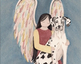 Harlequin great dane (uncropped ears) with angel / Lynch signed folk art print