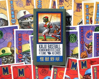 Kaiju Baseball Card Set- Japanese Monsters Collectible Card Set of 40