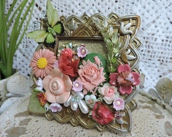 Pink and Green Upcycled Art Frame