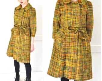 1970s TWEED wool coat 70s vintage PRINCESS coat long multi tonal wool DOUBLE breasted trench coat jacket small medium petite
