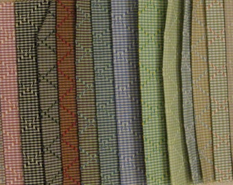 "LOT Small Boussac Scala Diamond Gingham Designer Fabric Samples Lot 7"" x 5"" 24 PCS"