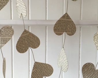 Paper heart bunting made from old vintage books